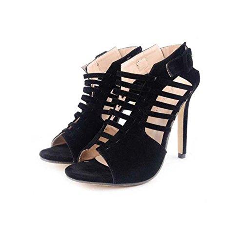 SHEO sandalias de tacón alto Señoras Europa y los Estados Unidos de tacón alto cruzado con finas sandalias huecas Negro