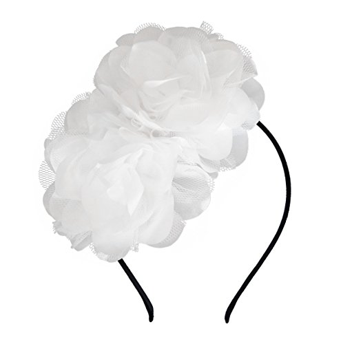 Vintage Elegant Satin Rose Flower Fascinator Hair Clip Headband Kentucky Derby Hat Bridal Wedding Prom Cocktail Tea Party Headwear Headpiece (AQ White) - Satin Hat Band