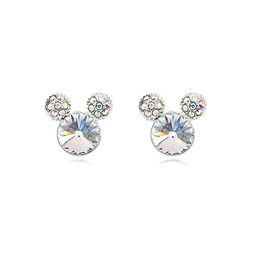 Silver Crystal Diamond Accent Happy Earrings Studs Set for women teenage girls, with a Gift Box, Made with SWAROVSKI Crystal, Ideal Gift for Birthdays / Christmas / Wedding--White, Model: X13826