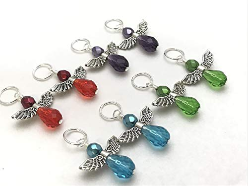 Crystal Teardrop Angel Stitch Marker Charm Jewelry