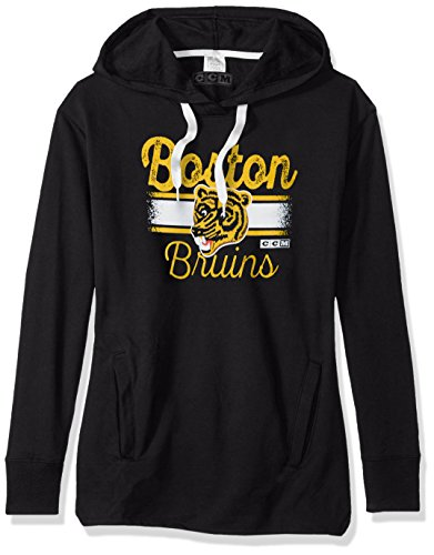Fleece Boston Bruins Pullover - NHL Boston Bruins Bottom Stripe Fleece Hood, Medium, Black