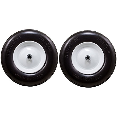 MARATHON TIRE 4.80 4.00-8, 3 Centered Hub Flat Free Replacement Tire 2 Pack