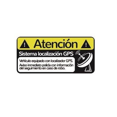 Pack 2 Pegatinas disuasorias localizador GPS vehiculos, Coches Camiones Bicicletas adhieren Sobre Superficie Exterior Adhesivos disuasorios localización ...