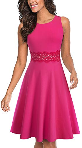 HOMEYEE Women's Sleeveless Cocktail A-Line Embroidery Party Summer Wedding Guest Dress A079(4,Pink)