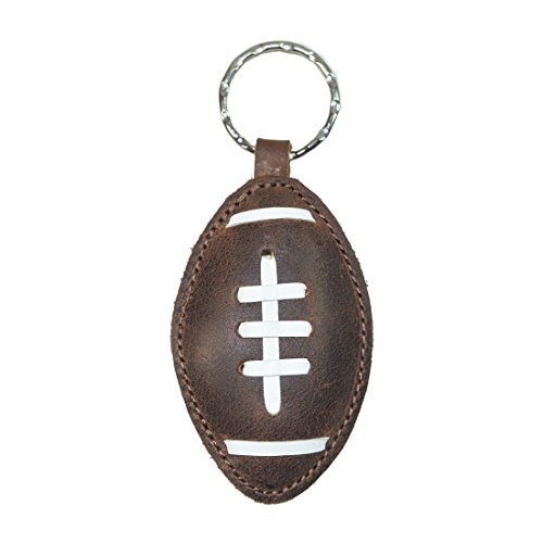 Football Key Chain - Hide & Drink Rustic Leather Football Keychain Handmade Bourbon Brown