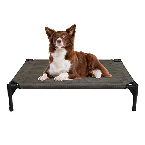 Veehoo Cooling Elevated Dog Bed, Portable Raised Pet Cot with Washable & Breathable Mesh, No-Slip Rubber Feet for Indoor & Outdoor Use, Medium, Brown