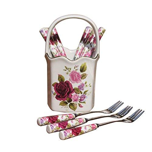 BB.er Tableware Set European-style stainless steel fruit cake fork spoon ceramic flower basket, 6 spoons +6 fork + base