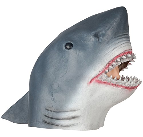 Loftus International Realistic Shark Halloween Full Head Mask Blue White One Size Novelty -