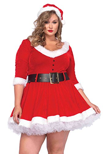 Leg Avenue Women's Plus-Size Miss Santa, Red, 3X/4X (Mrs Santa Costumes Plus Size)