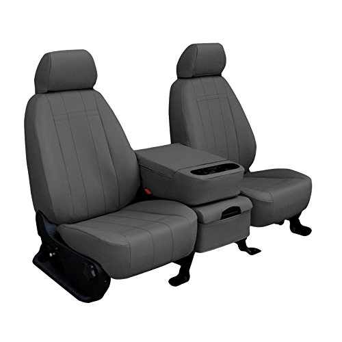 Rear SEAT: ShearComfort Custom Imitation Leather Seat Covers for Ford F150 Extended Cab (2001-2003) in Charcoal for 40/60 Split Bottom w/Solid Backrest