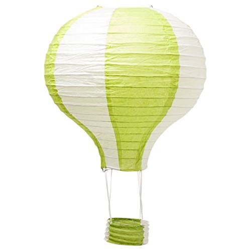 Pack of 3 Stripy Hot Air Balloon Paper Lantern Wedding Party Decoration Craft Lamp Shade (Green, 12