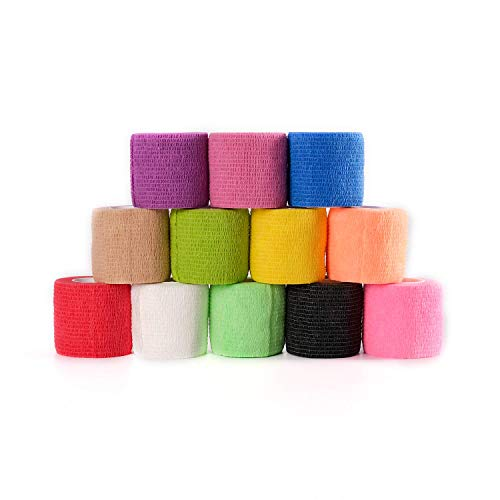 Fantastic Job 12 Pack 2 Inch Self Adherent Cohesive Tape Adhesive Nandage Wrap for Sports Ankle Wrist Finger