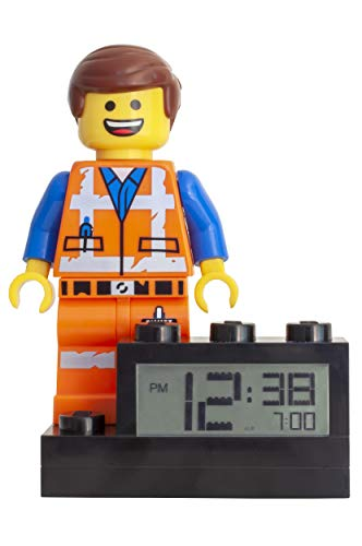 Clock Lego - LEGO Movie 2 9003967 Emmet Kids Minifigure Light Up Alarm Clock | color | plastic | 6 inches tall | LCD display | boy girl | official