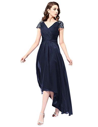 JYDress - Vestido - plisado - para mujer azul azul marino 46