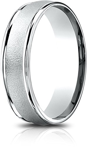 Benchmark 14k White Gold 6.5mm Comfort-Fit Wired-Finished, Polished Round Edge Carved Dsgn Band (Sz 10)