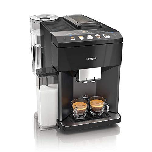 Siemens – Cafetera superautomática EQ.500 Integral, con display TFT táctil y depósito de leche integrado, color negro