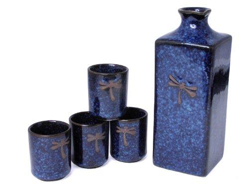 Happy Sales HSSS-DFS08, 5 pc Japanese sake set Blue Dragonfly