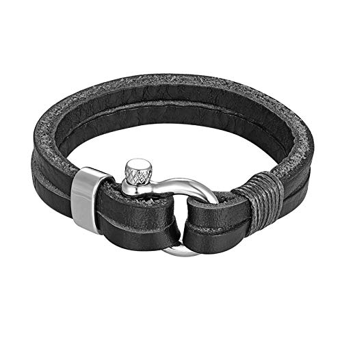 Cyan mango Stainless Steel Hook Leather Anchor Bracelets Handmade Cuff Bracelet for Men Or Women Gift,As picture10,23cm ()