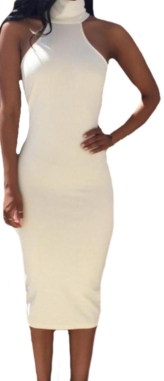 ASL Women's Fashion Solid Color Sleeveless Pencil Midi Dresses