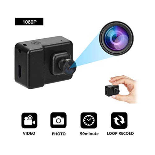 Gtwoilt Mini Camera Body Camera Security Home Camera Surveillance Video Recorders Nanny Cam 1080P HD Portable Camera Meeting Home Office Sports Camera, Black