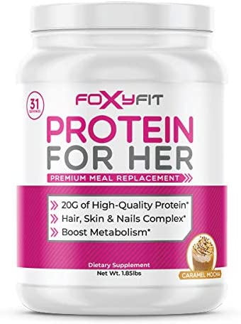 FoxyFit Protein for Her, Caramel Mocha Whey Protein Powder with CLA to Help with Weight Management and Biotin for Healthy Glow 1.85 lbs.
