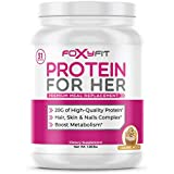 FoxyFit Protein for Her, Caramel Mocha Whey Protein Powder with CLA to Help with Weight Management and Biotin for…
