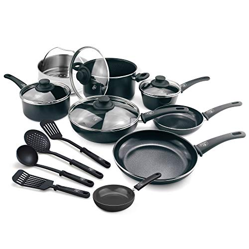 Tool Set Cool Mini (GreenLife CC001922-001 Soft Grip 16 Piece Ceramic Non-Stick Cookware Set, Black)