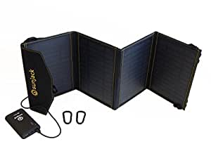 SunJack 14W Solar Charger + 10000mAh Qualcomm Quick Charge 3.0 Power Bank External Battery - Portable Solar Panel with USB for Cell Phones, iPad, Backpacking, Camping, Hiking