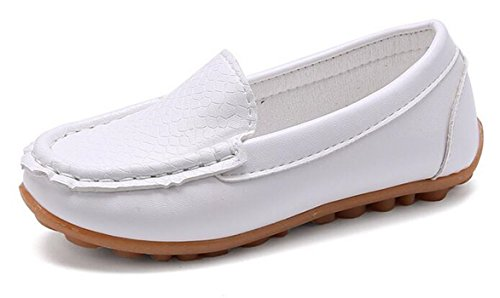 Bumud Girl's Boy's Faux Leather Slip-on Loafers Oxford Shoes (13 M US Little Kid, White)