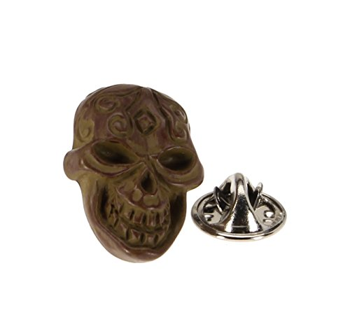 Men's Lapel Pin Tie Tack Brown Decorated Skull Emblem