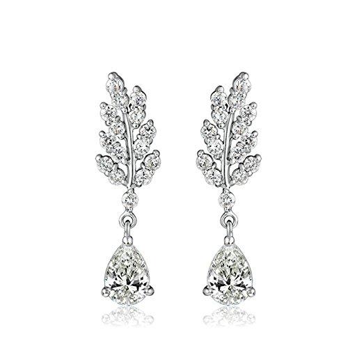 Gnzoe White Gold Plated Stud Earrings Women White Zirconia Leaf Oval Teardrop Shape Channel 35x9.7MM