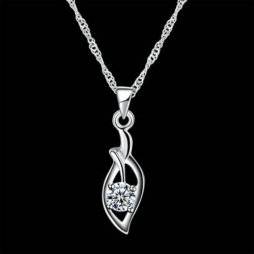 MoAndy Sterling Silver Women Necklace Chain Leaf White Length 40+5CM