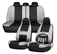 Zone Tech Set of Gray and Black Car Interior Covers - 100% Waterproof and Breathable Universal Fit Cover Seat Covers + Slip On Steering Wheel Covers + 4 Comfy Seat Belt Covers Safety Protectors Set