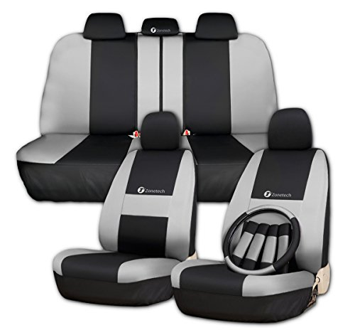 Zone Tech Set of Gray and Black Car Interior Covers - Universal Fit Cover Seat Covers + Slip On Steering Wheel Covers + 4 Comfy Seat Belt Covers Safety Protectors Set -