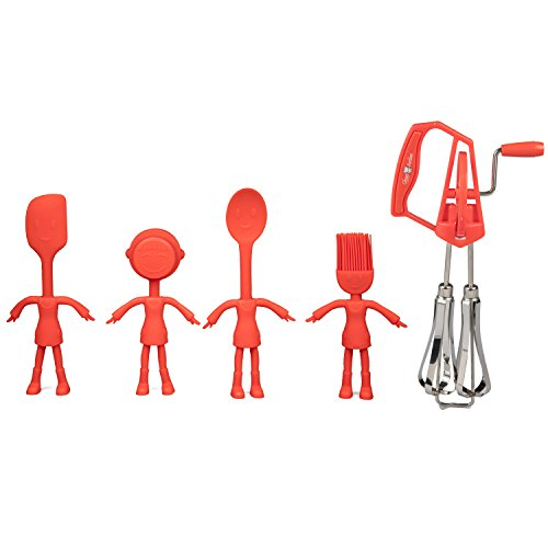 Kids Baking Set - 5 Pc Cooking Utensil Tool Set w Real Spatula, Spoon, Measuring Cup, Brush and Child Friendly Mixer