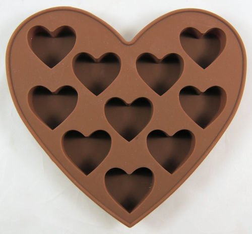Baking Moulds Heart Shaped 10 Cav Silicone Mold for Fondant, Gum Paste, Chocolate, Cookies, Jelly, Ice Cream,Crafts Non-stick Silicone Sugarcraft Fondant Soap Mold Decorating 1Pcs # T 99