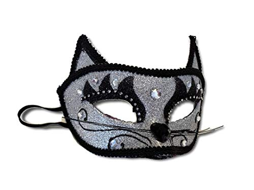 Silver Glitter Cat Masquerade Mask, Good for New Years Eve, Mardi Gras, Halloween, Cosplay, Costume Balls -