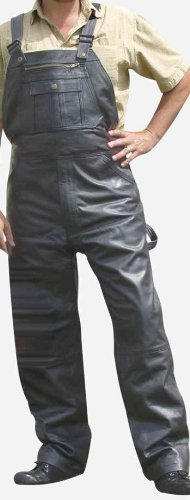 Mens Analine cowhide Leather Motorcycle Overall Chaps lined to the knee n antique brass YKK hardware