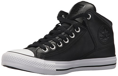 Converse Men's Street Leather High Top Sneaker, Black/White, 11 M US
