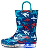 Outee Toddler Boys Kids Light Up Rain Boots Printed Waterproof Shoes Lightweight Cute Blue Plane with Easy-On Handles and Insole (Size 7,Blue)