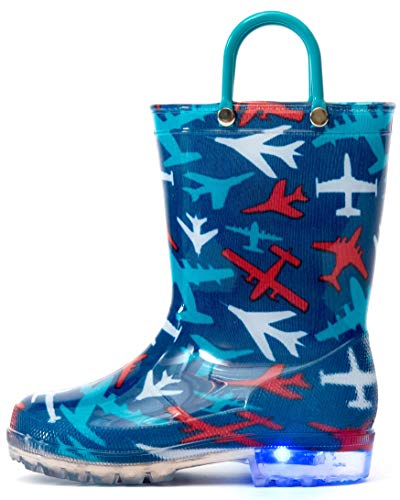 Outee Toddler Boys Kids Light Up Rain Boots Printed Waterproof Shoes Lightweight Cute Blue Plane with Easy-On Handles and Insole (Size 6,Blue) ()