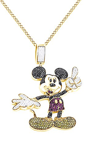 Round Cut Multicolor Cubic Zirconia Mickey Mouse Hip Hop Pendant in 14K Yellow Gold Over Sterling Silver (5.22 Cttw) by AFFY