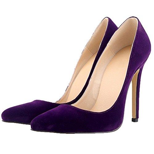HooH Women's High Heel Pointed Toe Stiletto Wedding Pumps Slip On Purple yPTAzLR2