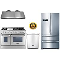 Thor Kitchen 4-Piece Package with 48 Dual Fuel Range 6 Burner With Double Oven and Griddle, 48 Under Cabinet Range Hood, 36 Cabinet Depth French Door Refrigerator and 24 Built-In Dishwasher