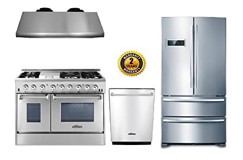 Thor Kitchen 4-Piece Package with 48″ Dual Fuel Range 6 Burner With Double Oven and Griddle, 48″ Under Cabinet Range Hood, 36″ Cabinet Depth French Door Refrigerator and 24″ Built-In Dishwasher