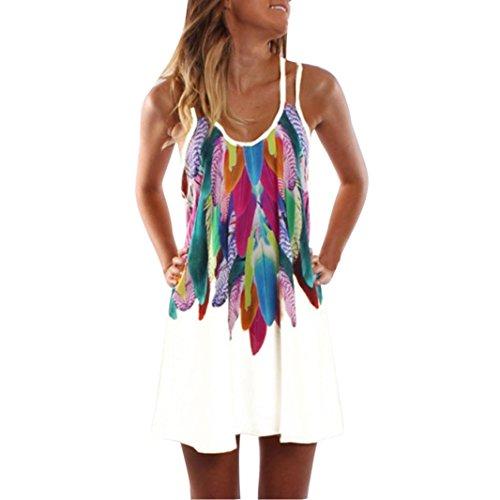 KMG Kimloog Women's Colorful Feathers Print Double Straps Halter Casual Party Beach Mini Dress (M, White)]()