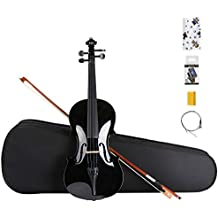 ARTALL 4/4 Full Size Handcrafted Acoustic Violin Beginner Kit for Student with Hard Case, Bow & Accessories, glossy Black