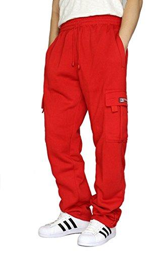 DREAM USA Men's Fleece Cargo Sweatpants Heavyweight (L, Red) Red Sweat