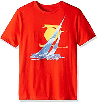 Nautica Men's Short Sleeve Crew Neck Artist Series 100% Cotton T-Shirt, Fiery red, Small