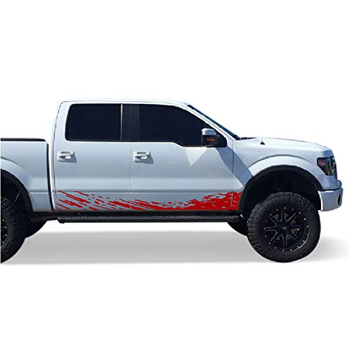 Bubbles Designs Set Side Mud Splash Decal Sticker Graphic Compatible Ford F150 Series 2009 2017 Red